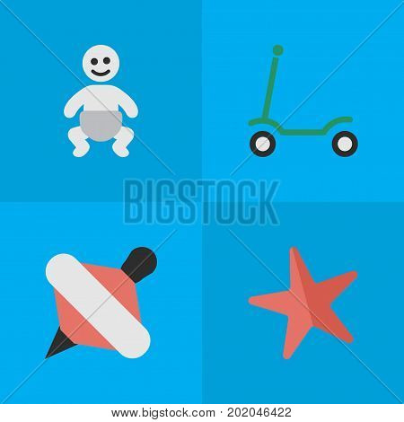 Elements Child, Kick, Yule And Other Synonyms Toy, Child And Kick.  Vector Illustration Set Of Simple Infant Icons.