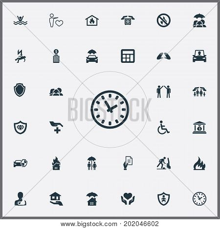 Elements Job Accord, Shield, Driving Licence And Other Synonyms Protect, Injured And Family.  Vector Illustration Set Of Simple Guarantee Icons.