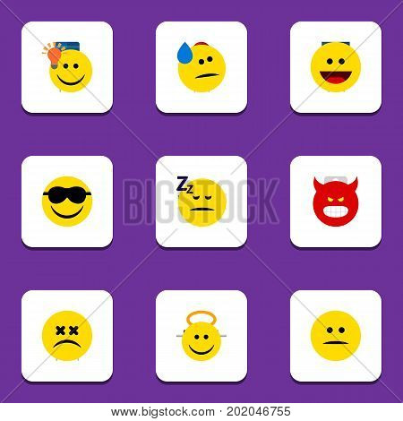 Flat Icon Gesture Set Of Displeased, Laugh, Pouting And Other Vector Objects