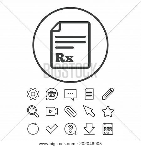 Medical prescription Rx sign icon. Pharmacy or medicine symbol. Document, Chat and Paper clip line signs. Question, Pencil and Calendar line icons. Star, Download and Shopping cart. Vector