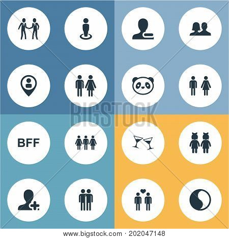 Elements Gender, Beverage, Companion And Other Synonyms Forever, Pals And Buddies.  Vector Illustration Set Of Simple  Icons.