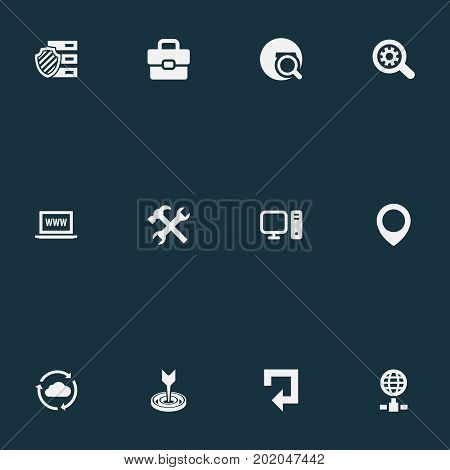 Elements Browser, Globe, PC And Other Synonyms Globe, Magnifier And Unit.  Vector Illustration Set Of Simple Review Icons.