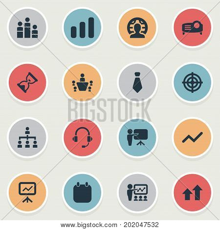Elements Projecting Device, Report, Vector And Other Synonyms Class, World And Projector.  Vector Illustration Set Of Simple Presentation Icons.