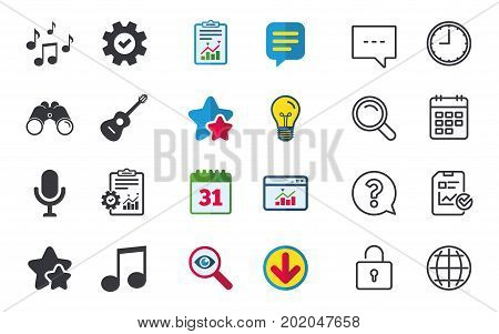 Music icons. Microphone karaoke symbol. Music notes and acoustic guitar signs. Chat, Report and Calendar signs. Stars, Statistics and Download icons. Question, Clock and Globe. Vector