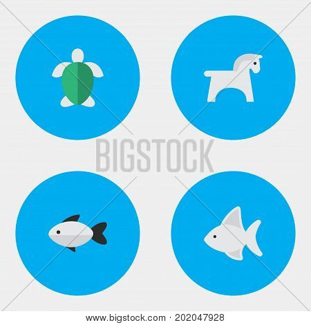 Elements Steed, Turtle, Perch And Other Synonyms Tortoise, Fish And Turtle.  Vector Illustration Set Of Simple Fauna Icons.
