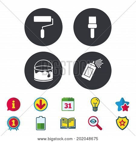 Painting roller, brush icons. Spray can and Bucket of paint signs. Wall repair tool and painting symbol. Calendar, Information and Download signs. Stars, Award and Book icons. Vector