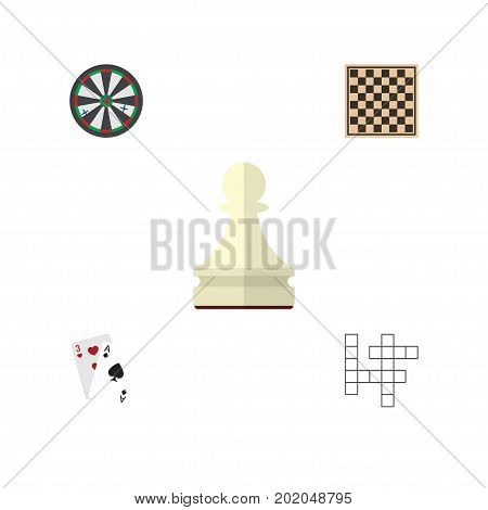 Flat Icon Entertainment Set Of Chess Table, Ace, Pawn And Other Vector Objects