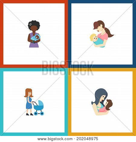 Flat Icon Parent Set Of Perambulator, Mam, Child And Other Vector Objects