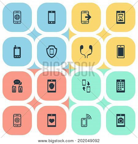 Elements Protection, Business Accessory, Soul On Phone And Other Synonyms Technology, Safeguard And Synchronization.  Vector Illustration Set Of Simple  Icons.