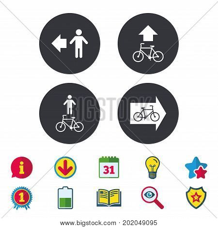 Pedestrian road icon. Bicycle path trail sign. Cycle path. Arrow symbol. Calendar, Information and Download signs. Stars, Award and Book icons. Light bulb, Shield and Search. Vector