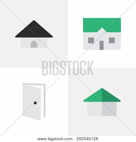 Elements Base, Entry, Architecture And Other Synonyms Door, Building And Entry.  Vector Illustration Set Of Simple Property Icons.