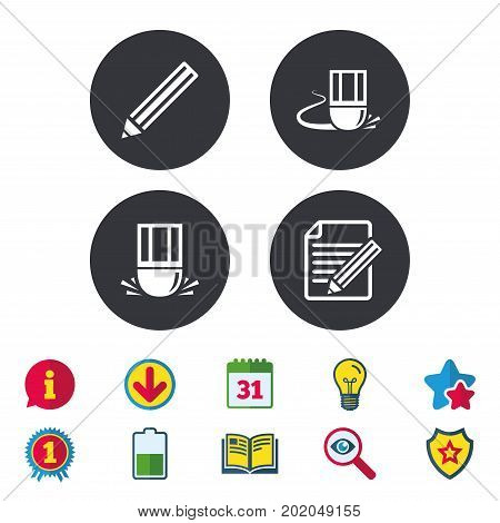 Pencil icon. Edit document file. Eraser sign. Correct drawing symbol. Calendar, Information and Download signs. Stars, Award and Book icons. Light bulb, Shield and Search. Vector