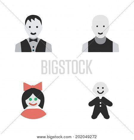 Elements Guy, Girl, Man And Other Synonyms Guy, Male And Man.  Vector Illustration Set Of Simple Avatar Icons.
