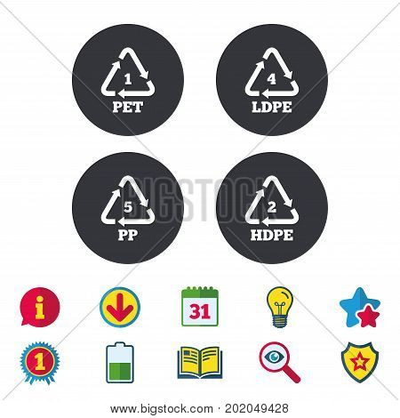 PET 1, Ld-pe 4, PP 5 and Hd-pe 2 icons. High-density Polyethylene terephthalate sign. Recycling symbol. Calendar, Information and Download signs. Stars, Award and Book icons. Vector