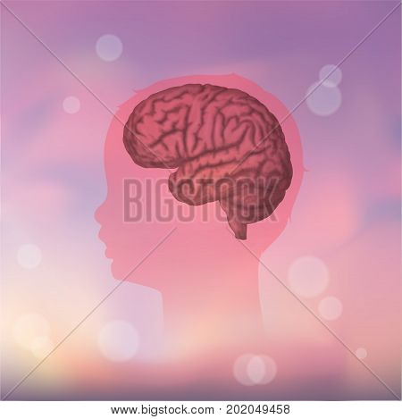 Child head with brain. Vector mecdical illustration. Pink blurred background