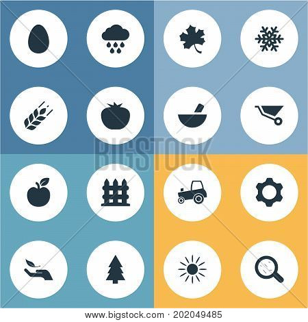 Elements Jonagold, Leaf, Engine And Other Synonyms Farming, Protein And Barrier.  Vector Illustration Set Of Simple Agriculture Icons.