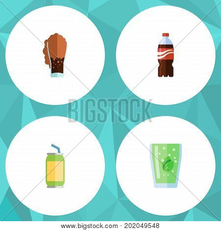 Flat Icon Soda Set Of Soda, Cup, Bottle And Other Vector Objects