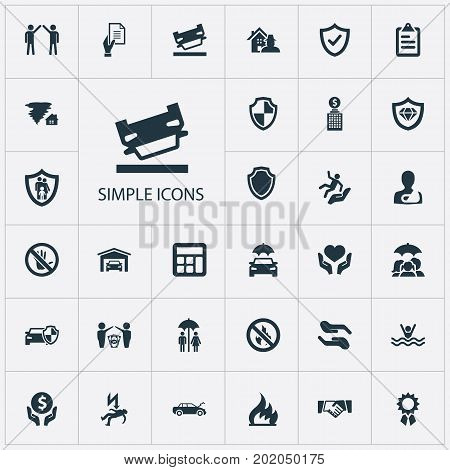 Elements Questionaire, Accounting, Shield And Other Synonyms Couple, Wreck And Hurricane.  Vector Illustration Set Of Simple Warrant Icons.