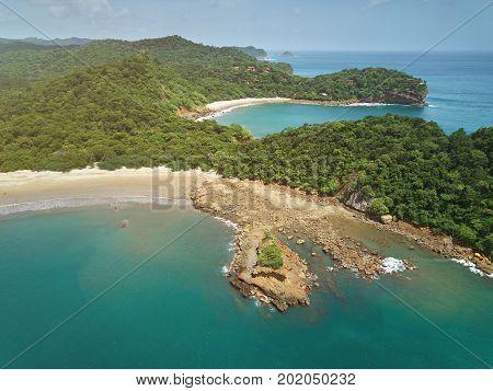 Aquawellness beach bay resort in Nicaragua aerial drone view