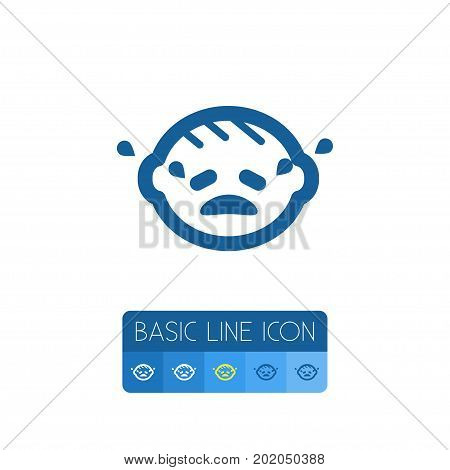 Crying Infant Vector Element Can Be Used For Crying, Infant, Child Design Concept.  Isolated Child Outline.