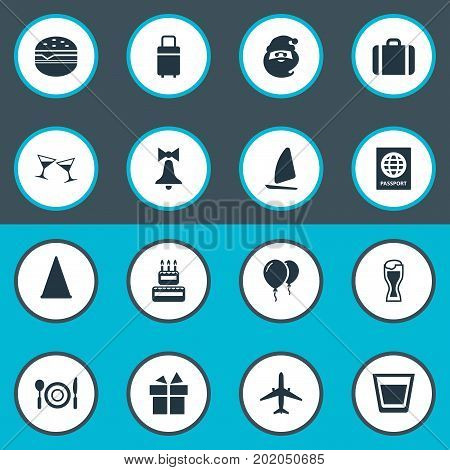 Elements Ale Mug, Yachting, Sandwich Synonyms Sport, Mug And Supper.  Vector Illustration Set Of Simple Festal Icons.
