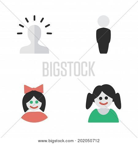 Elements Girl, Person, Contour And Other Synonyms Woman, Person And Contour.  Vector Illustration Set Of Simple Person Icons.