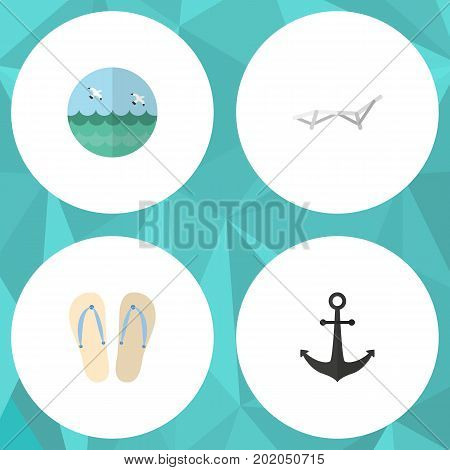 Flat Icon Summer Set Of Beach Sandals , Deck Chair, Ship Hook Vector Objects