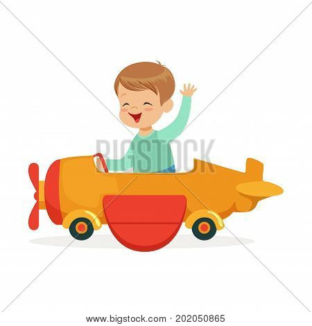Cute little boy riding on toy airplane, kid have a fun in amusement park cartoon vector Illustration on a white background