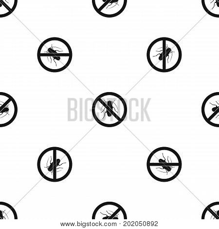 No cockroach sign pattern repeat seamless in black color for any design. Vector geometric illustration