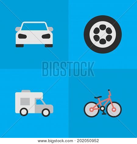Elements Wheel, Van, Sport And Other Synonyms Sport, Wheel And Van.  Vector Illustration Set Of Simple Transportation Icons.