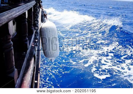 Beautiful view of sea water surface from ship on sunny day
