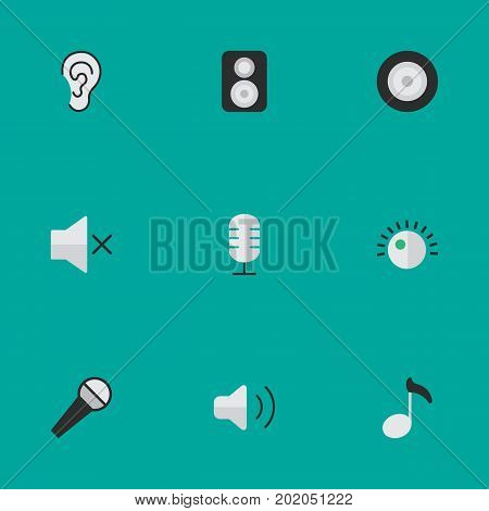 Elements Microphone, Regulator, Volume And Other Synonyms Ear, Mute And Mike.  Vector Illustration Set Of Simple Melody Icons.