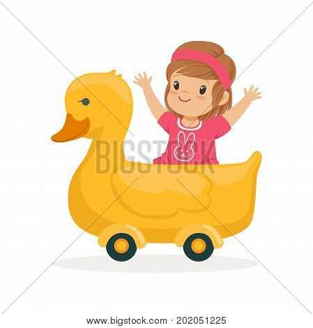 Cute little girl riding on yellow duck, kid have a fun in amusement park cartoon vector Illustration on a white background
