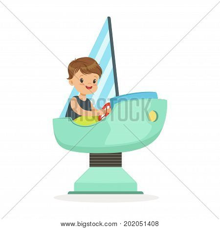 Cute little boy playing on a toy ship, kid have a fun in amusement park cartoon vector Illustration on a white background