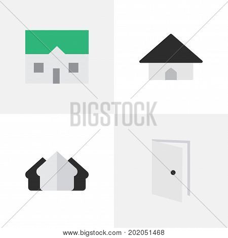 Elements House, Base, Property And Other Synonyms Property, Open And Door.  Vector Illustration Set Of Simple Property Icons.