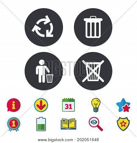 Recycle bin icons. Reuse or reduce symbols. Human throw in trash can. Recycling signs. Calendar, Information and Download signs. Stars, Award and Book icons. Light bulb, Shield and Search. Vector