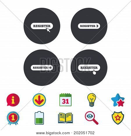 Register with hand pointer icon. Mouse cursor symbol. Membership sign. Calendar, Information and Download signs. Stars, Award and Book icons. Light bulb, Shield and Search. Vector