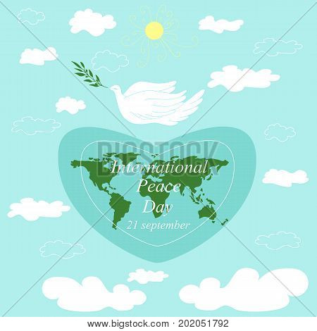 International Day Peace.Flying dove with branch planet earth in the shape of a heart cartoon flat styledoodle sun and light white clouds isolated blue background. Vector hand drawn illustration.