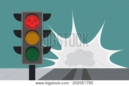 Traffic Light On The Road, Running A Red Light Together With Ignoring The Stop Signs Are Causes Of C