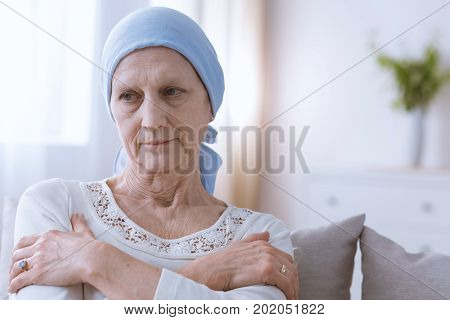 Depressed Woman Suffering From Cancer