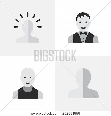 Elements Male, Contour, Profile And Other Synonyms Shape, Profile And Male.  Vector Illustration Set Of Simple Avatar Icons.