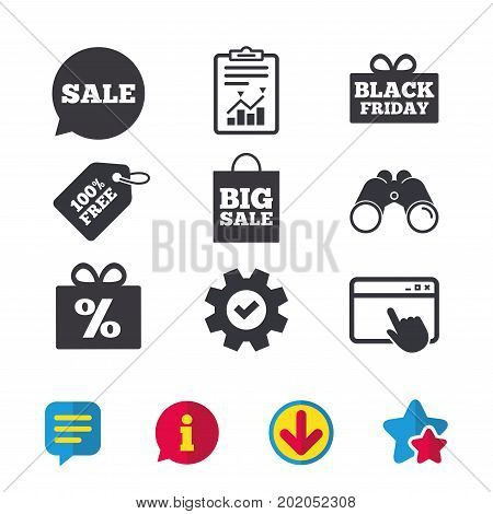 Sale speech bubble icon. Black friday gift box symbol. Big sale shopping bag. Discount percent sign. Browser window, Report and Service signs. Binoculars, Information and Download icons. Vector