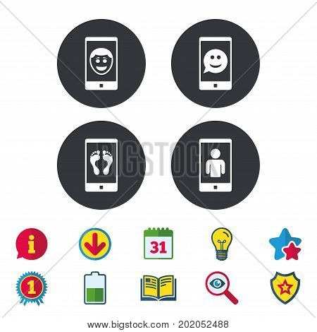 Selfie smile face icon. Smartphone video call symbol. Self feet or legs photo. Calendar, Information and Download signs. Stars, Award and Book icons. Light bulb, Shield and Search. Vector