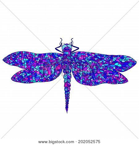 Decorative beautiful graceful dragonfly psychedelic style multicolor cartoon insect isolated on white background. A beautiful cyberpunk card. Vector hand drawn illustration.
