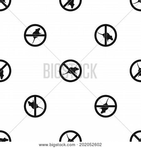 No rats sign pattern repeat seamless in black color for any design. Vector geometric illustration