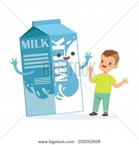 Cute happy little boy and funny milk carton box with smiling human face playing and having fun, healthy childrens food cartoon characters vector Illustration on a white background