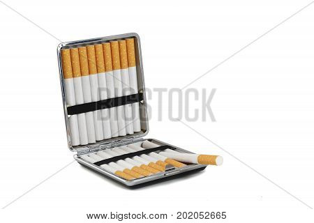 cigarette case with tobacco filter cigarettes isolated with small shadows on a white background copy space selected focus narrow depth of field