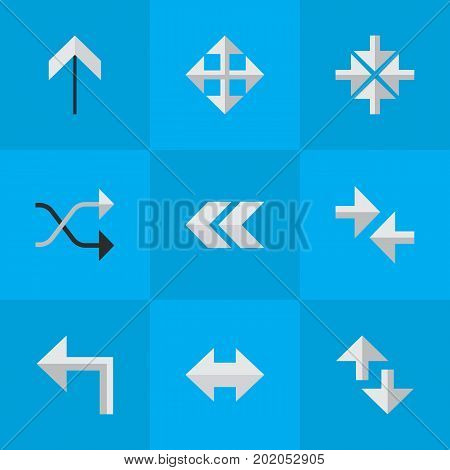 Elements Widen, Back, Orientation And Other Synonyms Upward, Left And Import.  Vector Illustration Set Of Simple Arrows Icons.