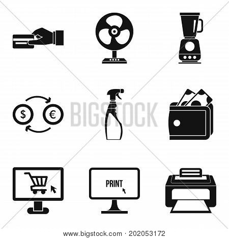 Paid services icons set. Simple set of 9 paid services vector icons for web isolated on white background