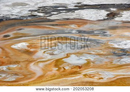 Overhead view of Lower Geyser Basin, a valley of toxic mud and boiling water in Yellowstone National Park